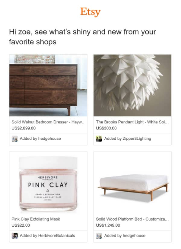 Etsy email